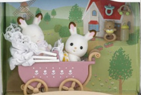 Chocolate Rabbit Pram Set
