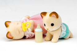 Sylvanian Families Cream Cat Twin Babies
